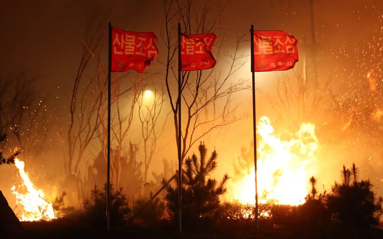 96c9e388b79962 Пожежа вражає Сокчо, приблизно в 210 км від Сеула, Південна Корея, 5 квітня