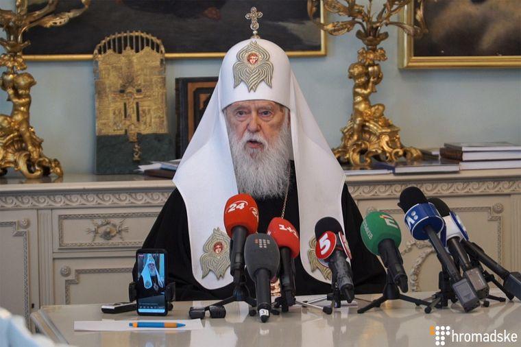 Почесний патріарх Православної церкви України Філарет (Денисенко) під час прес-конференції в Києві, 25 червня 2019 року