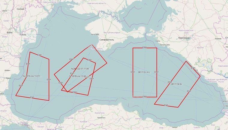 Перекрыты Россией районы Черного моря по международному предписанию 0817/2019