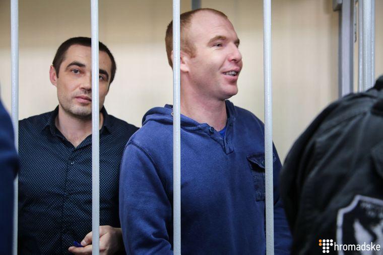Віктор Беспальченко (ліворуч) і Сергій Чулиба у Лефортівському суді Москви, Росія, 17 квітня 2019 року
