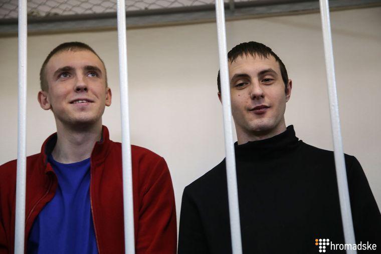 Сергій Цибізов (ліворуч) і Євген Семидоцький у Лефортівському суді Москви, Росія, 17 квітня 2019 року