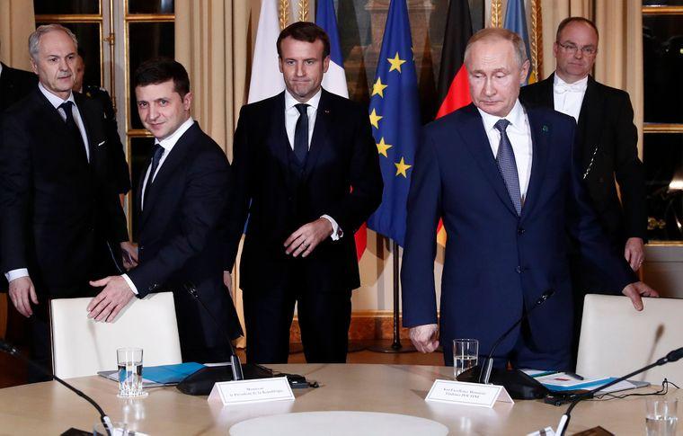 Президенти Зеленський, Макрон та Путін під час зустрічі в Парижі, 9 грудня 2019-го