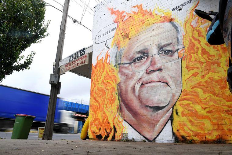 Изображение австралийского премьер-министра Скотта Моррисона, Мельбурн, Австралия, 7 января 2020 года. Действия Моррисона широко подвергались критике вместе с бездействием его правительства по изменению климата