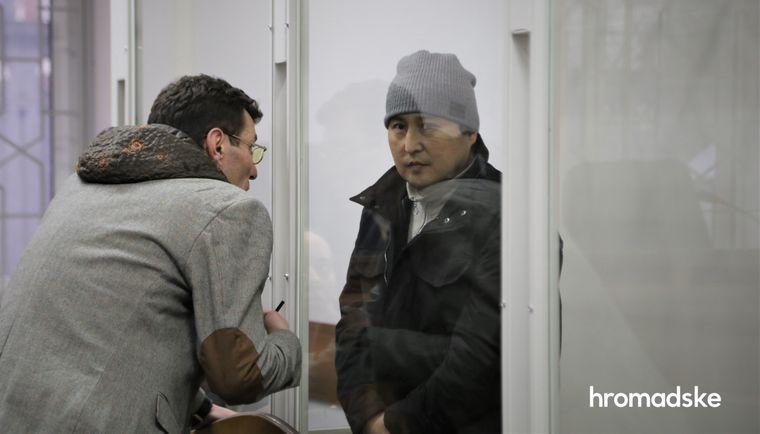 Підозрюваний у вбивстві пластичного хірурга Андрія Сотника в Києві Ермек Кудайназаров в Шевченківському суді Києва, 15 лютого 2020 рік