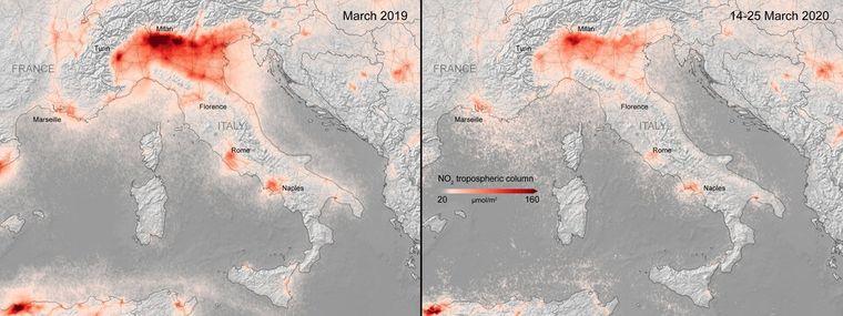 Показники вмісту діоксиду вуглецю в повітрі над Міланом та Римом