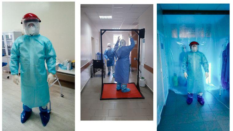 Олександр з колегами в лікарні виконують процес переходу з «брудної» в «чисту» зону. Таку процедуру їм доводиться робити 3-4 рази на день