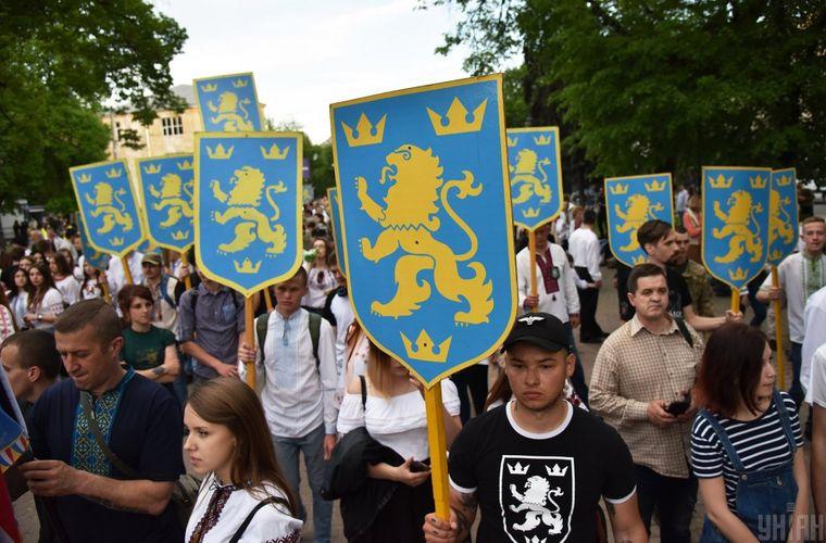 Учасники «Маршу величі духу», в рамках святкування 75-ї річниці з дня створення дивізії СС «Галичина», у Львові, 28 квітня 2018 рік
