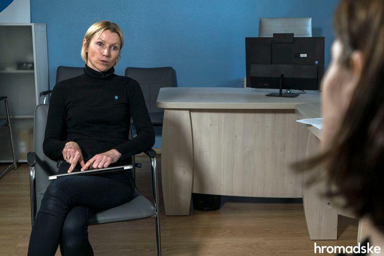 Виконувачка обов'язків керівника НСЗУ Оксана Мовчан під час інтерв'ю hromadske, Київ, 27 травня 2020 року