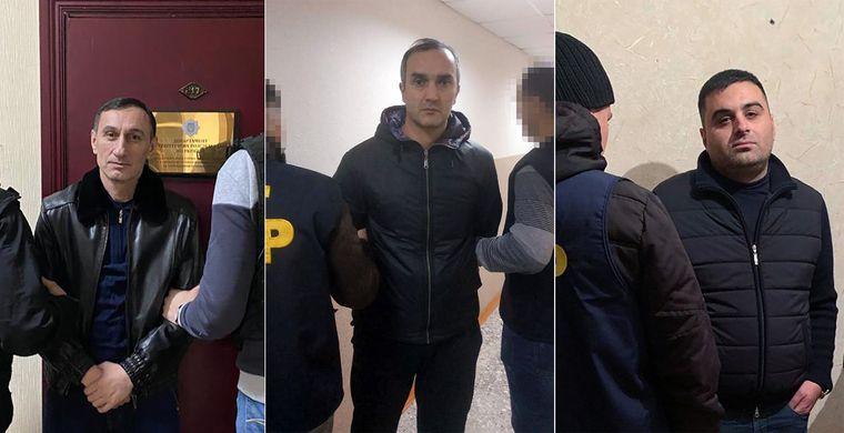 Зліва направо затримані поліцією «злодії в законі» Коба Руставський, Каха Тбіліський і Камо Московський