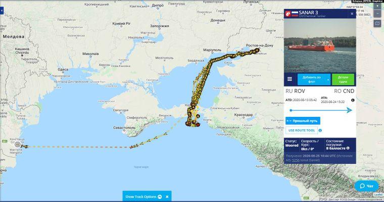 Приклад траєкторії руху одного з танкерів компанії Rosewood Shipping, яка належить Оксані Марченко