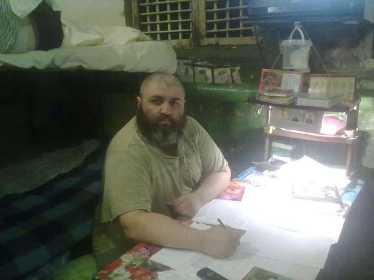 Андрей Шаманов в камере Донецкого СИЗО №5, 2014 год