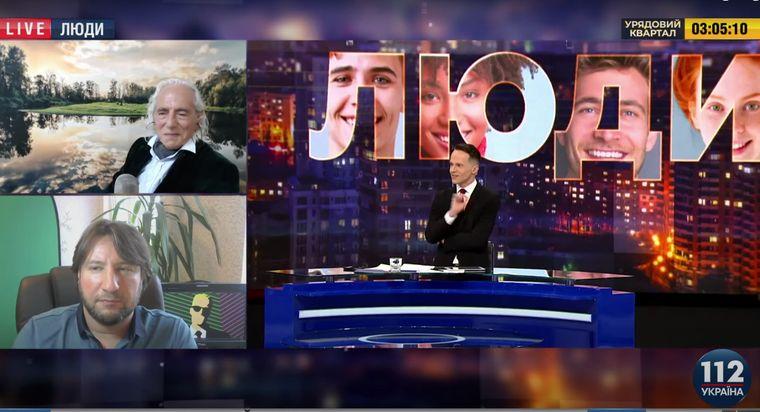 Російський радіоведучий Сєва Новгородцев (згори) та український культуролог Юрій Молчанов (внизу) в етері медіапроєкту «Люди» на 112 каналі