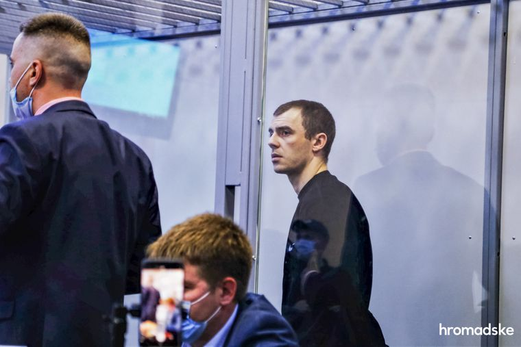 Свидетель по делу и осужденный Владимир Васянович во время допроса в Днепровском суде Киева, 8 октября 2020 года