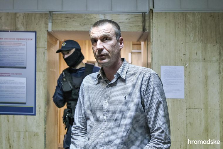 Свидетель по делу о нападении на Екатерину Гандзюк, предприниматель из Херсона Сергей Брага в Днепровском суде Киева после допроса, 9 октября 2020 года