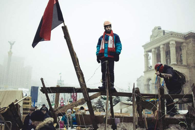 Сергій Нігоян на барикадах на Майдані Незалежності, 12 грудня 2013 року