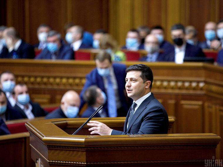Президент України Володимир Зеленський під час засідання Верховної Ради України