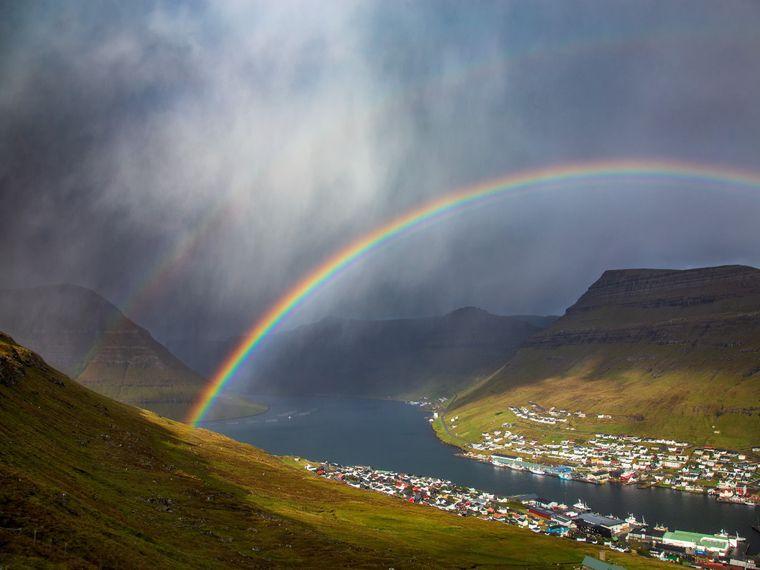 «Подвійна веселка над Клаксвіком». Фарерські острови, Данія