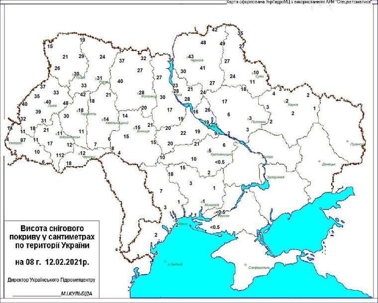 Метеорологи оприлюднили карту з показниками висоти снігового покриву в Україні 12 лютого