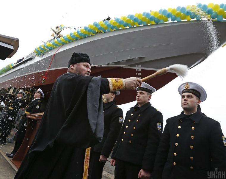 Церемонія урочистого спуску на воду малого броньованого артилерійського катера «Гюрза-М» у Києві, 11 листопада 2015 року