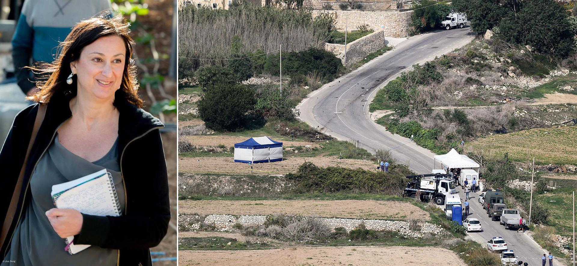На фото праворуч — мальтійські поліцейські на місці, де підірвали автомобіль журналістки Дафни Каруани Галісії, недалеко від її будинку, Мальта, 17 жовтня 2017 року. На фото ліворуч — архівне фото Дафни