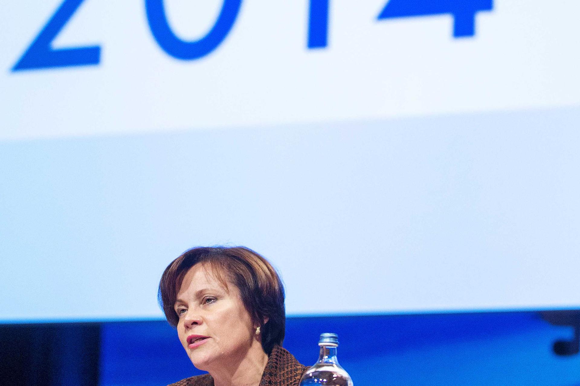 Президентка Парламентської асамблеї НАТО, колишня міністерка оборони Литви Раса Юкнявічене під час сесії Асамблеї в Гаазі, Нідерланди, 23 листопада 2014 року