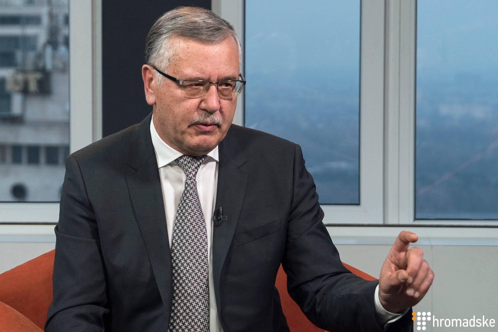 Лідер партії «Громадянська позиція» Анатолій Гриценко під час інтерв'ю Громадському, Київ, 22 листопада 2018 року