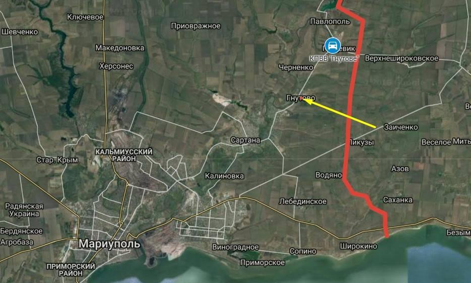 Червоним позначено лінію зіткнення на Донбасі