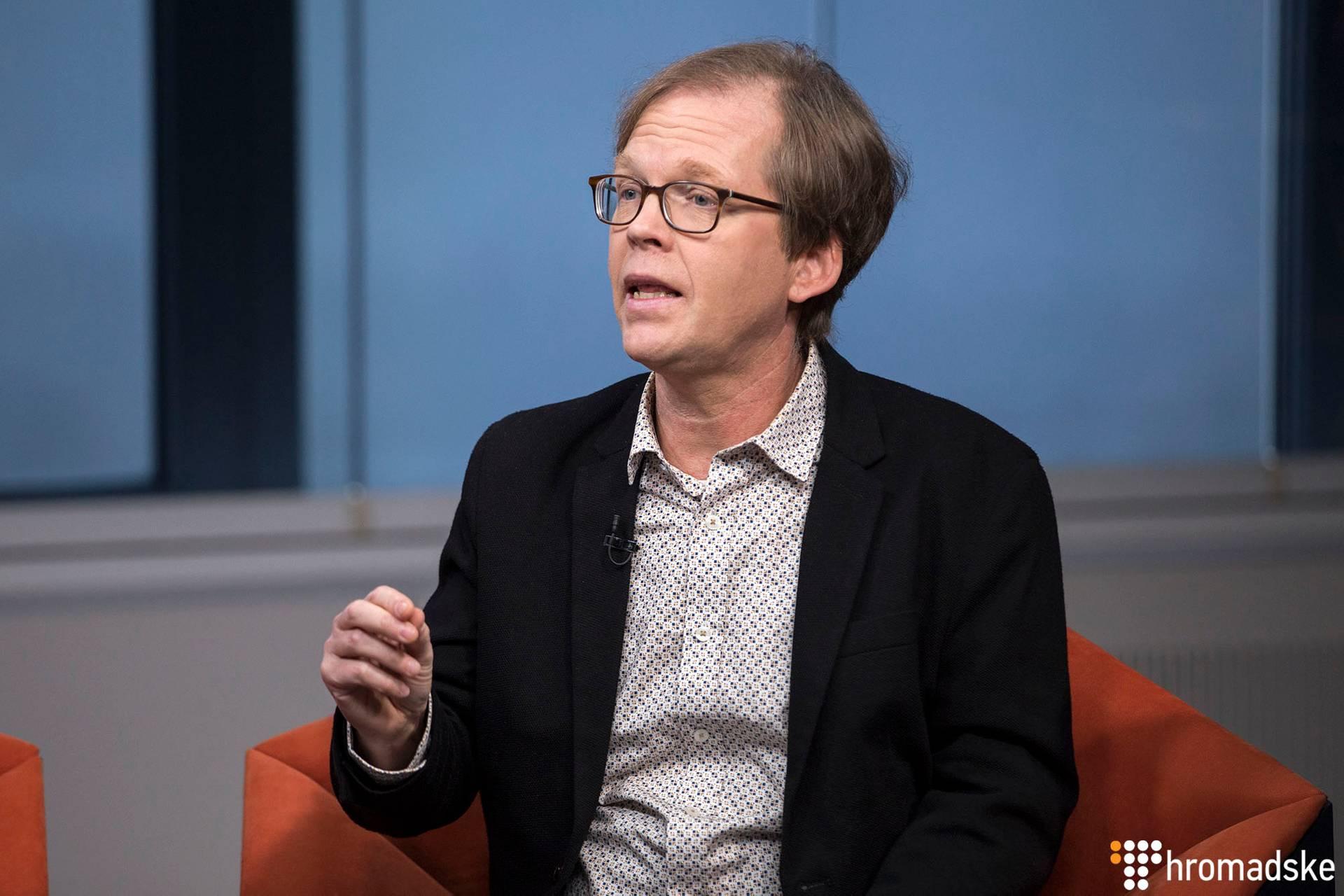 Американський політичний коментатор Пол Хокінос у студії Громадського, Київ, 14 листопада 2018 року