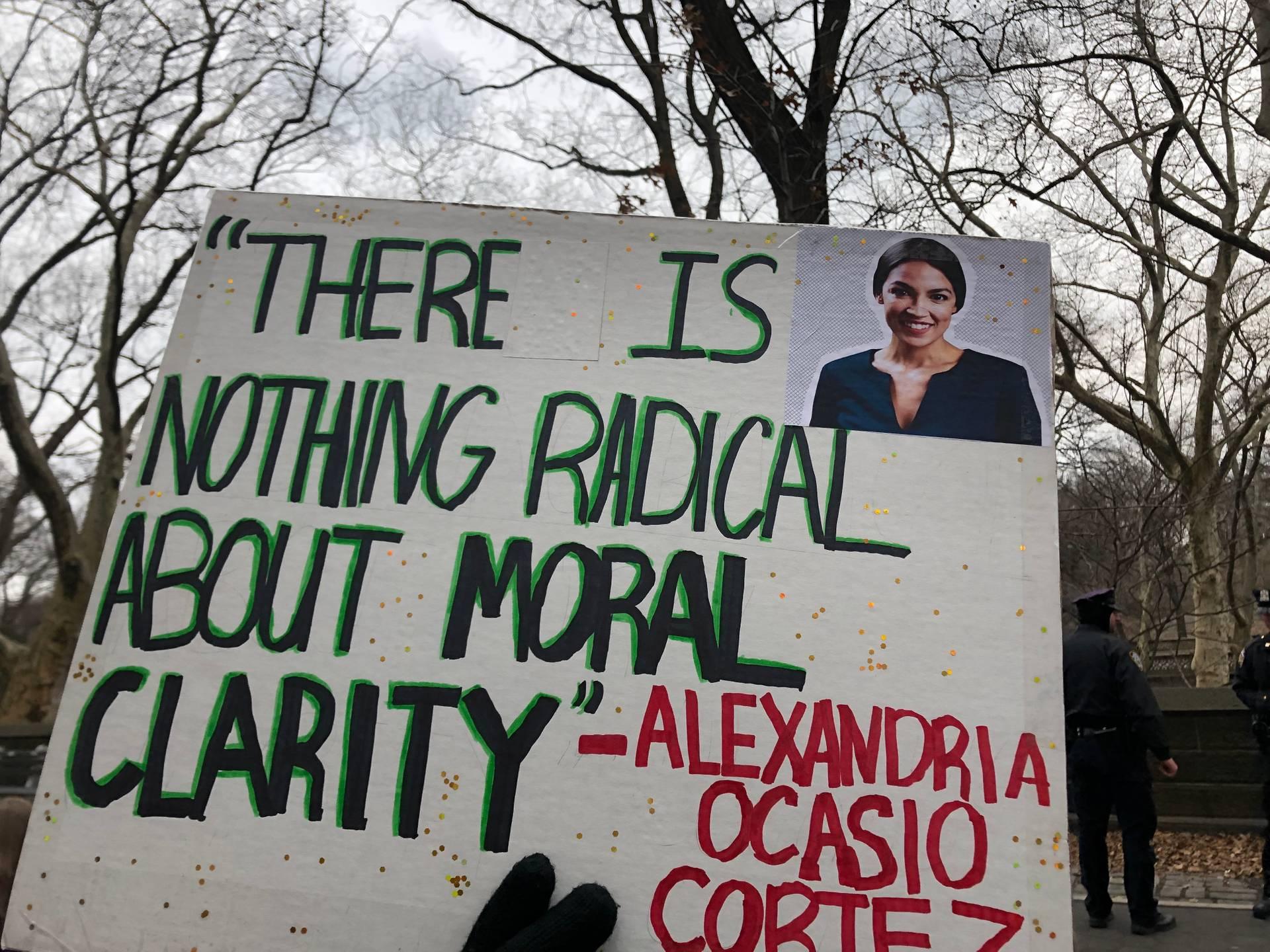 There is nothing radical about moral clarity Alexandria Ocasio Cortez «Немає нічого радикального в моральній ясності» — цитата Конгресменки Александрії Окасії-Кортес. Республіканскі ЗМІ висміюють те, що Кортез не може собі дозволити квартиру у Вашингтоні, куди переїхала. Тоді як дівчина враз стала улюбленою гостею найзнаменитіших медіа, що критикують Трампа, і героїнею найпопулярнішого сатиричного шоу Saturday Night Live, де політиків грають голівудські зірки.