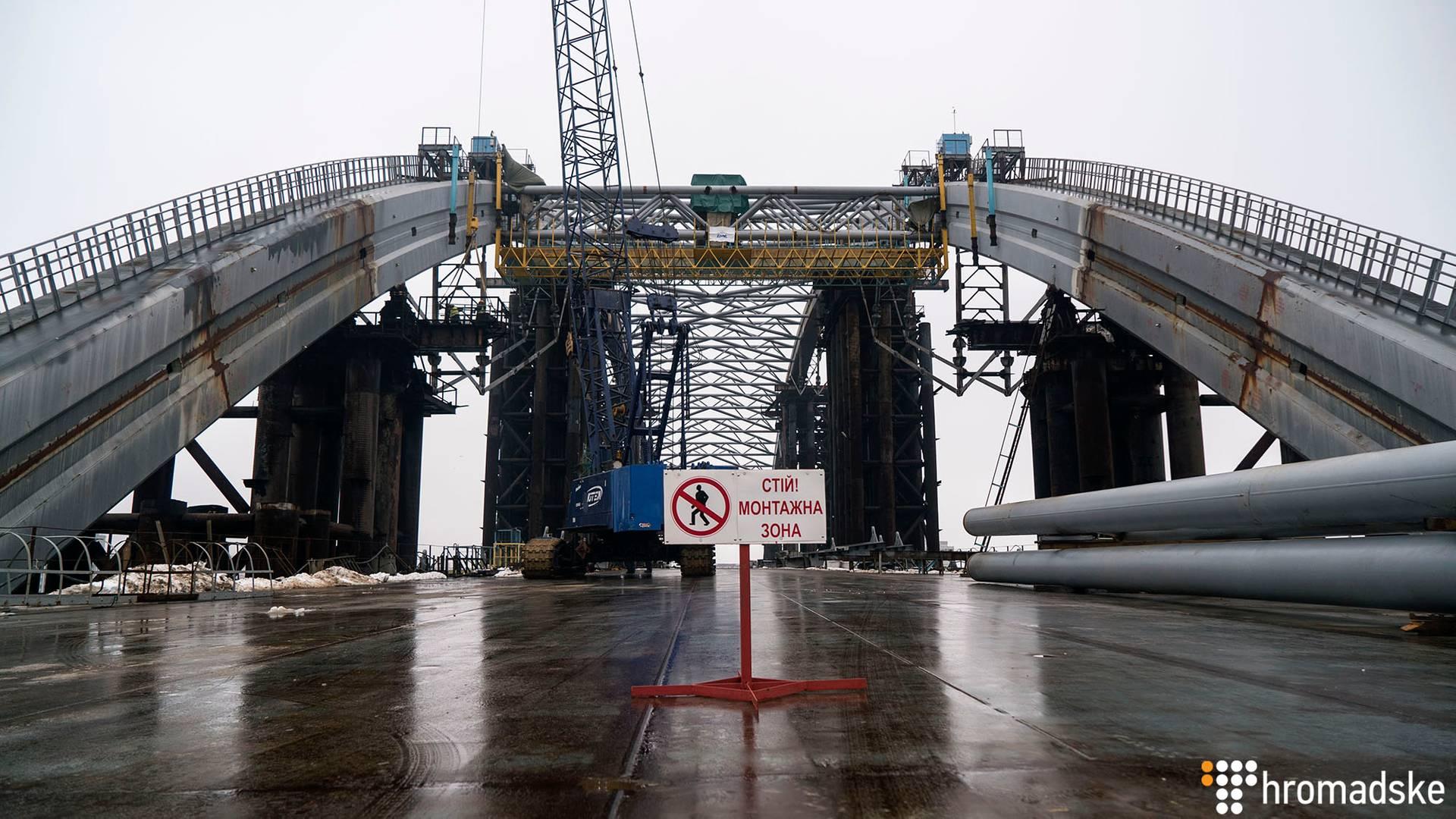Будівництво Подільсько-Воскресенського мосту у Києві, 31 січня 2019 року