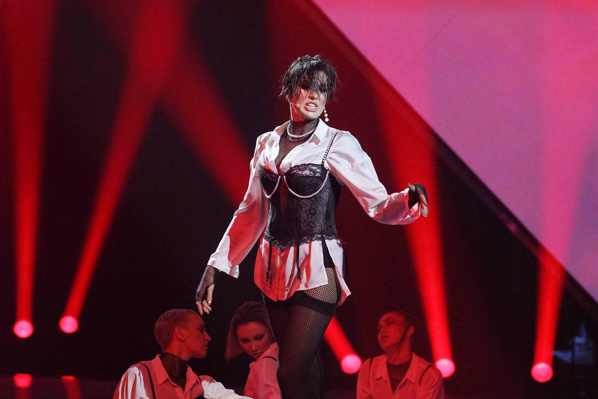 Співачка Maruv (Ганна Корсун) під час фіналу національного відбору на пісенний конкурс Євробачення, Київ, 23 лютого 2019 року