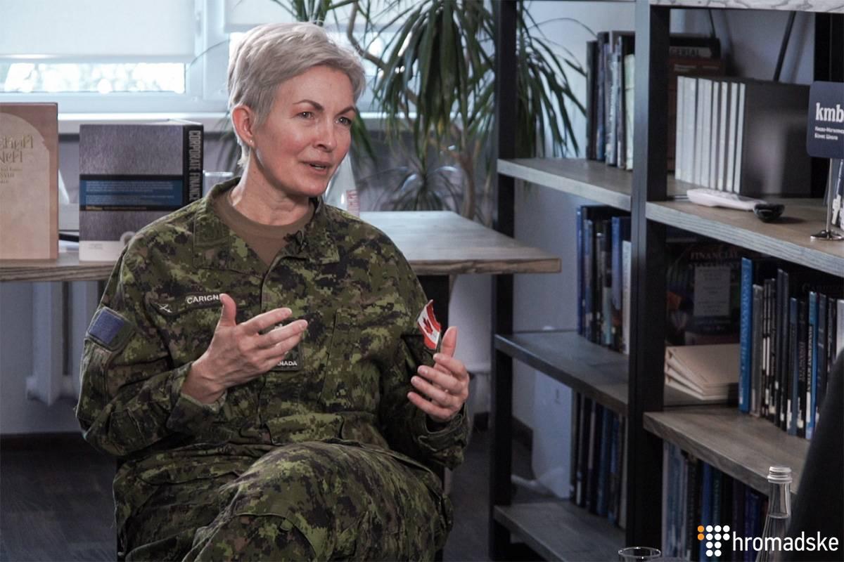 Бригадна генералка Збройних Сил Канади Дженні Каріньян під час інтерв'ю Громадському, Київ, 18 лютого 2019 року