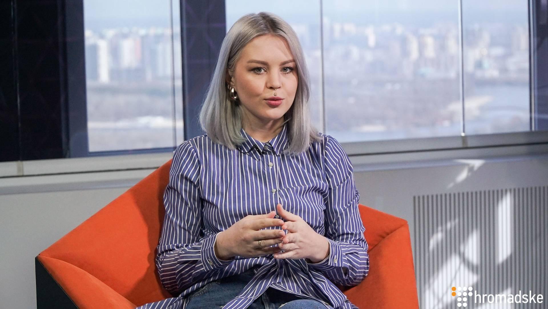 Учасниця дуету YUKO Юлія Юріна у студії Громадського, Київ, 7 березня 2019 року