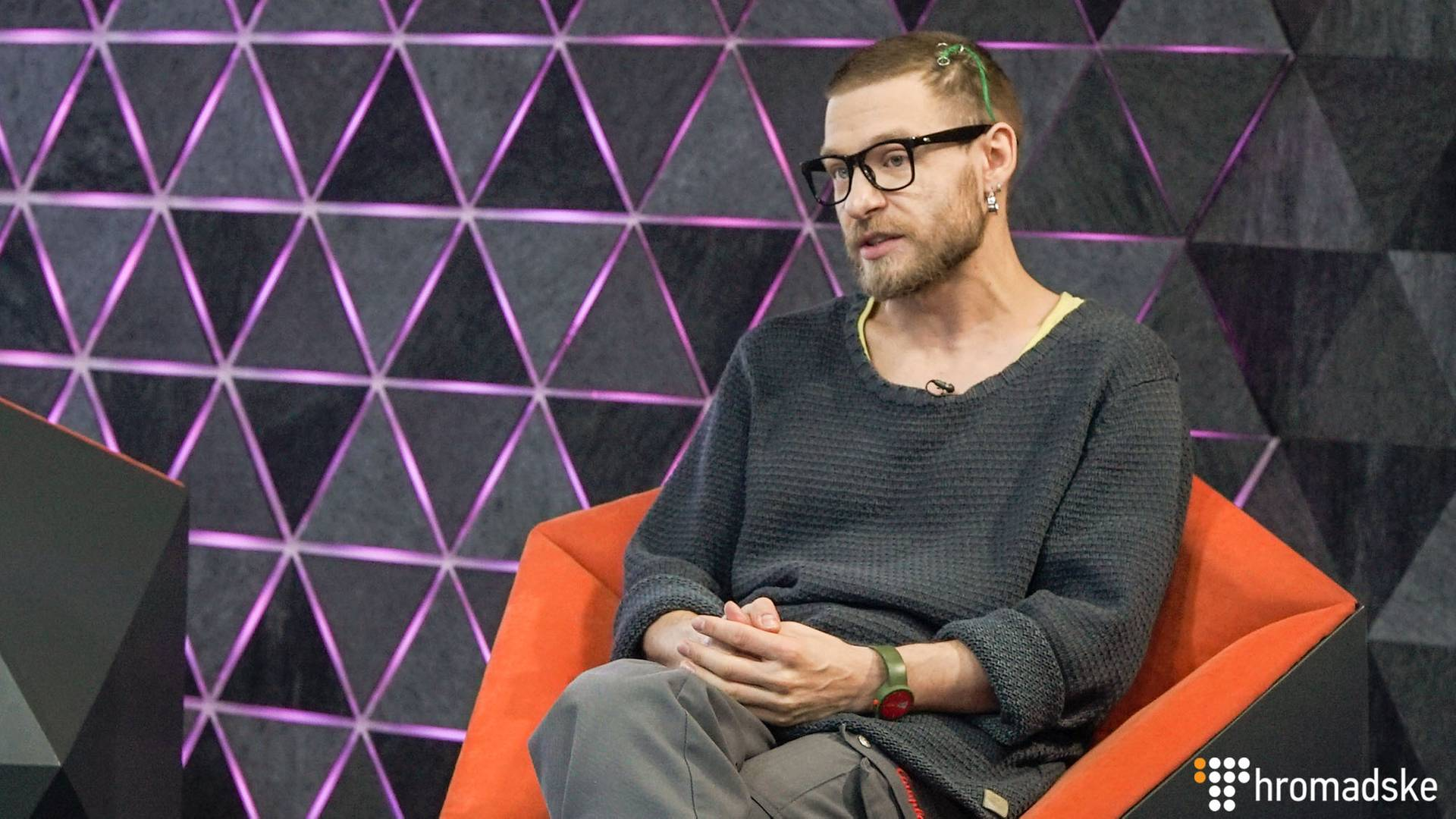 Учасник дуету YUKO Стас Корольов у студії Громадського, Київ, 7 березня 2019 року