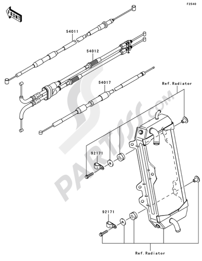 kawasaki kx250f 2009 dissassembly sheet  purchase genuine