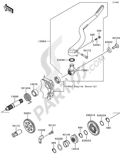 Kawasaki KX250F 2014 Kickstarter Mechanism