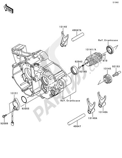 Kawasaki KX250F 2014 Gear Change Drum/Shift Fork(s)
