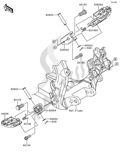 Kawasaki KX250F 2014 Footrests