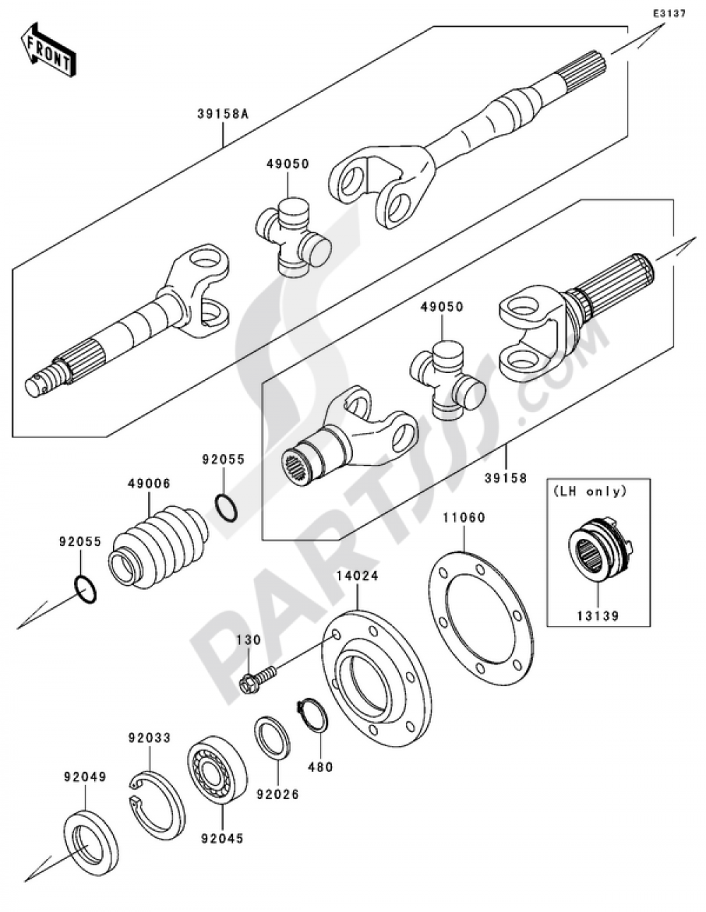 Drive Shaft-Rear Kawasaki MULE 3000 2006