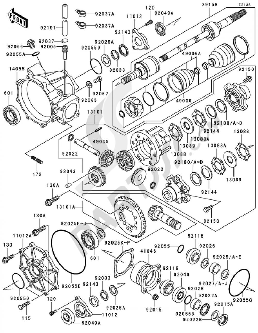 drive shaft front 1 3 kawasaki mule 3010 4x4 2004 Kawasaki Mule 3010 4x4 Parts