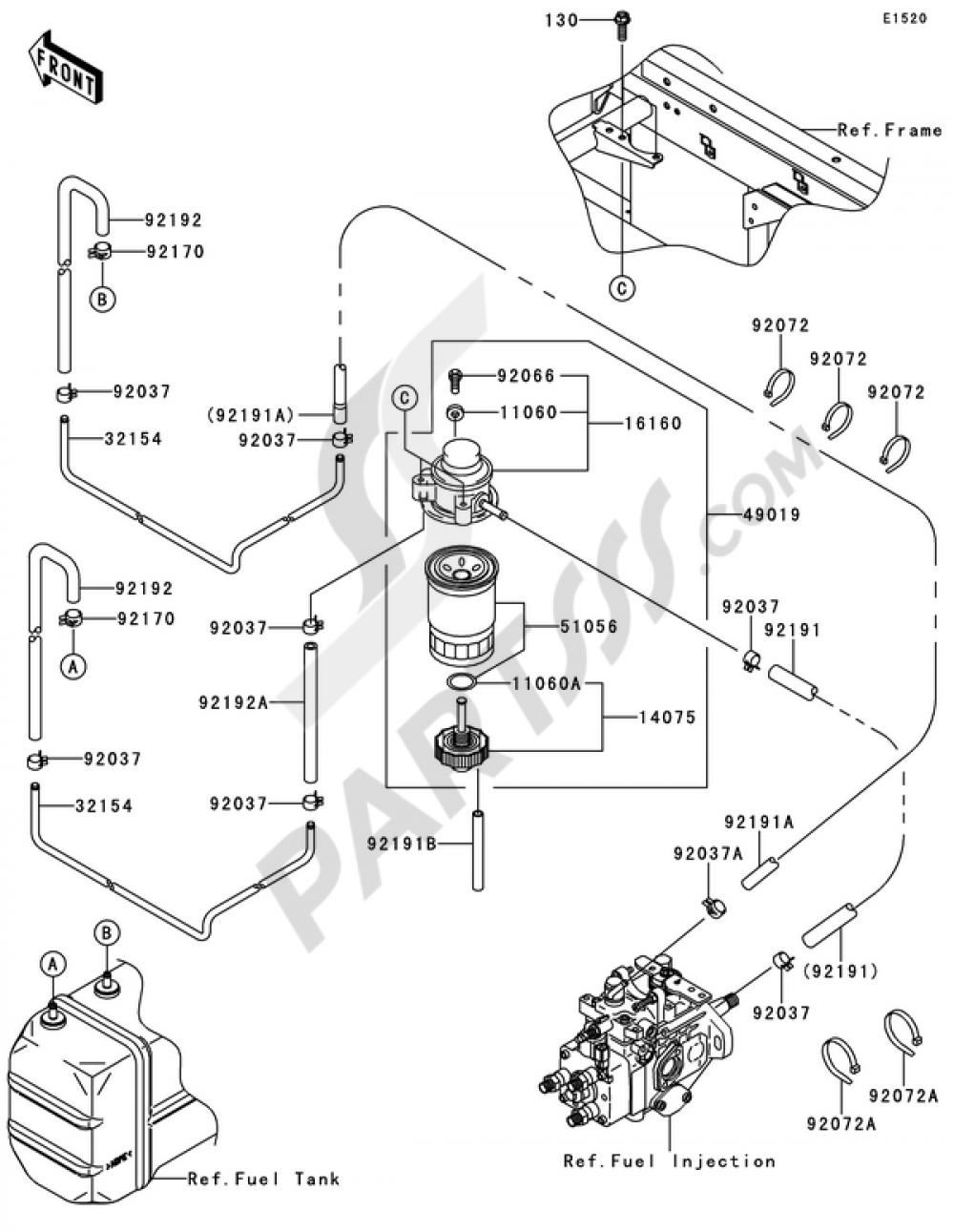 fuel pump kawasaki mule 4010 trans 4x4 diesel 2009  partsss