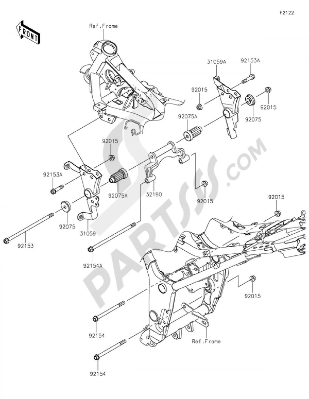 Engine Mount Kawasaki NINJA 300 ABS 2014 | 2014 Ninja 300 Engine Diagram |  | Partsss