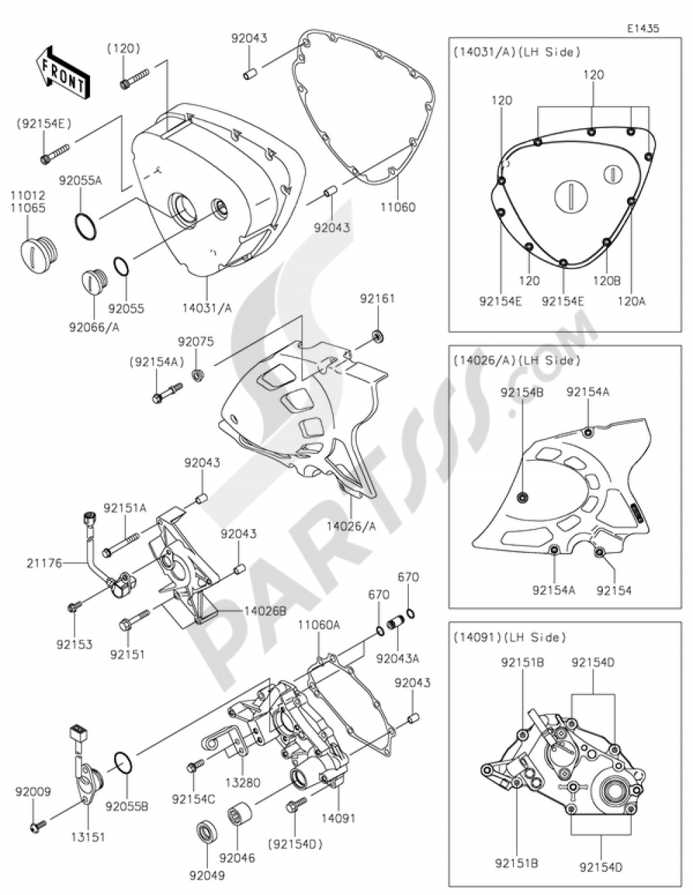 Kawasaki W800 Diagram Trusted Wiring Left Engine Covers 2015 Motorcycles