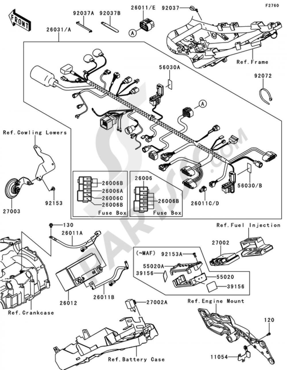 Chassis Electrical Equipment Kawasaki Z750 ABS 2008Partsss