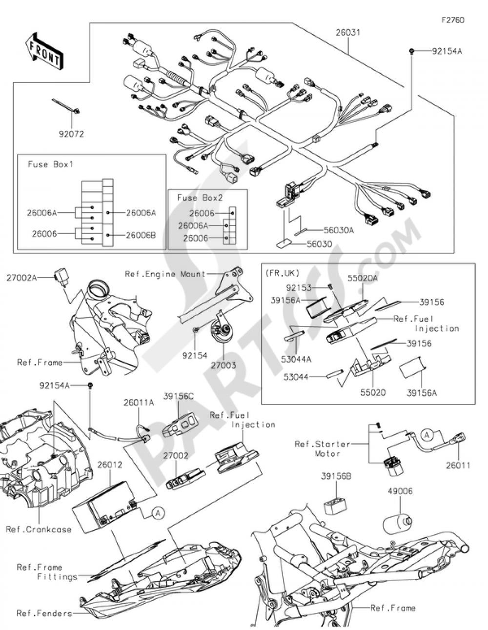 chassis electrical equipment kawasaki z800 2016