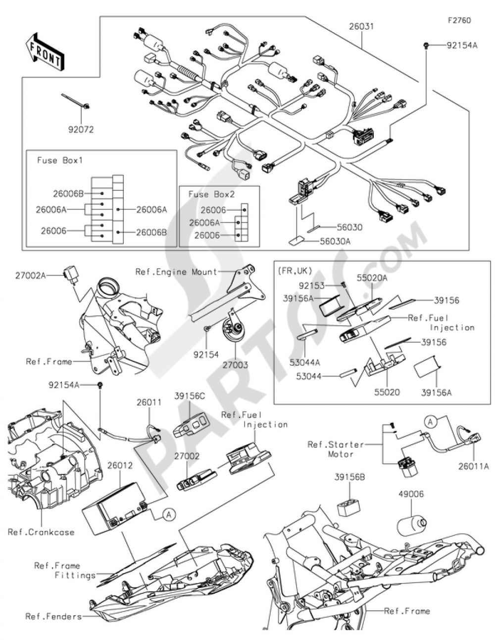 chassis electrical equipment kawasaki z800 abs 2014