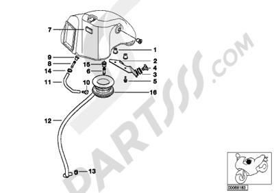 bmw f650gs dakar 2001-2004 (r13) intake muffler, mounting parts