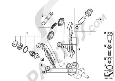 bmw g450x g450x (k16) set, timing chainwater pump shaft