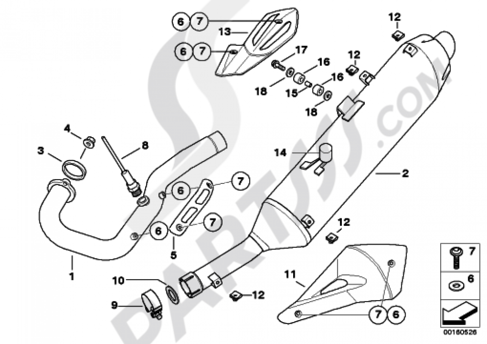 Exhaust System Parts With Mounts Bmw G650 Xmoto G650