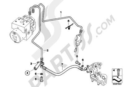 bmw g650gs sertao g650gs sertao (r134) brake pipe rear abs